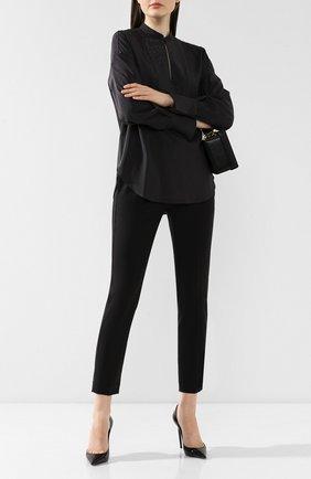 Женские шерстяные брюки BRUNELLO CUCINELLI черного цвета, арт. M0W07P6818   Фото 2 (Материал внешний: Шерсть; Женское Кросс-КТ: Брюки-одежда; Силуэт Ж (брюки и джинсы): Прямые; Стили: Кэжуэл; Длина (брюки, джинсы): Укороченные; Статус проверки: Проверена категория)