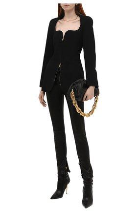 Женские кожаные брюки TOM FORD черного цвета, арт. PAL672-LEX224 | Фото 2 (Статус проверки: Проверено; Женское Кросс-КТ: Кожаные брюки, Брюки-одежда; Силуэт Ж (брюки и джинсы): Узкие; Длина (брюки, джинсы): Стандартные)