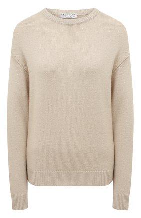 Женский пуловер из кашемира и шелка BRUNELLO CUCINELLI светло-бежевого цвета, арт. M73539900 | Фото 1