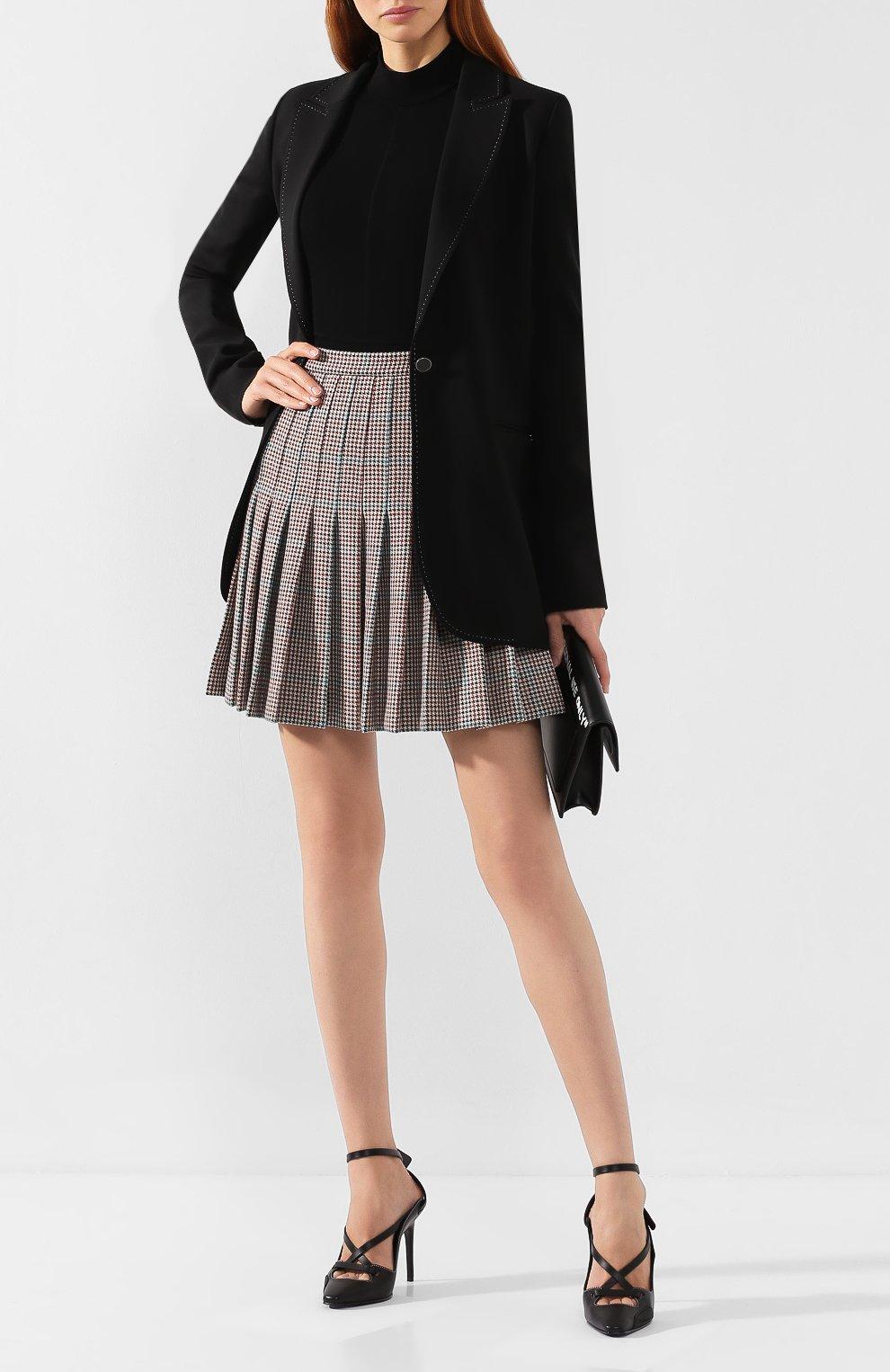Женская шерстяная юбка OFF-WHITE бежевого цвета, арт. 0WCC080E19F270779900 | Фото 2