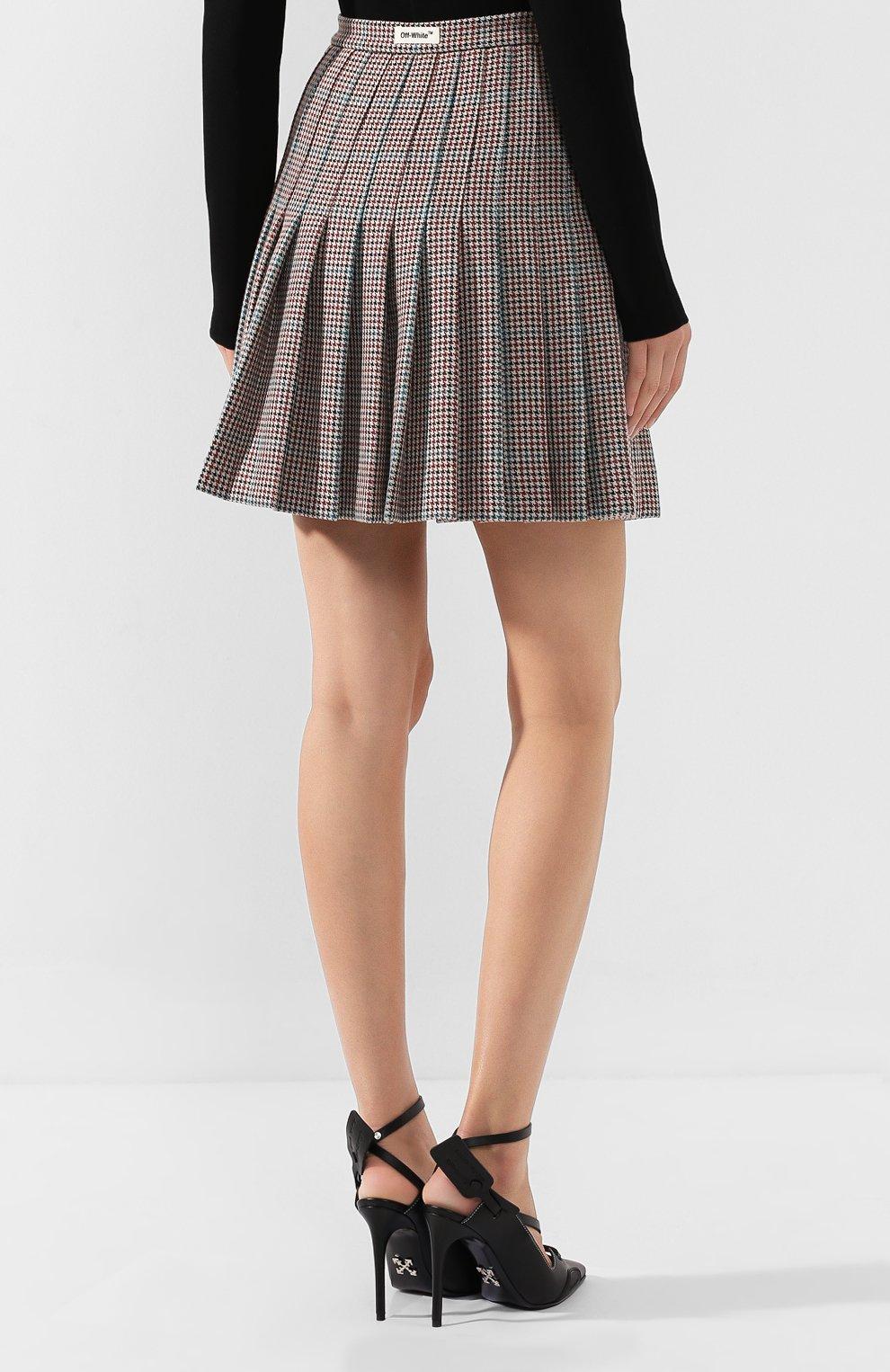 Женская шерстяная юбка OFF-WHITE бежевого цвета, арт. 0WCC080E19F270779900 | Фото 4