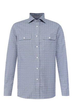 Мужская хлопковая рубашка RALPH LAUREN синего цвета, арт. 790758617 | Фото 1