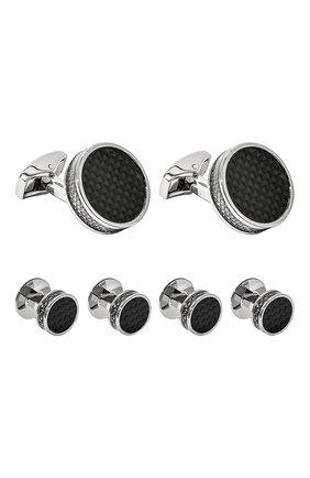 Мужские комплект из трех пар запонок TATEOSSIAN черного цвета, арт. SC0144 | Фото 1