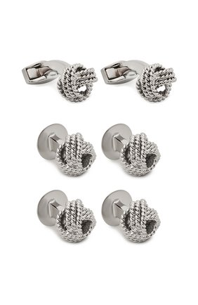 Мужские комплект из трех пар запонок TATEOSSIAN серебряного цвета, арт. SC0065 | Фото 1
