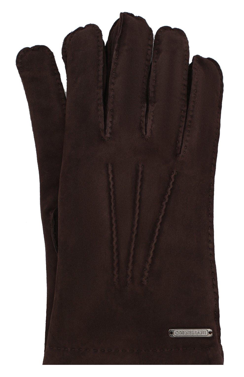 Мужские замшевые перчатки CORNELIANI темно-коричневого цвета, арт. 84Q301-9820595/00   Фото 1