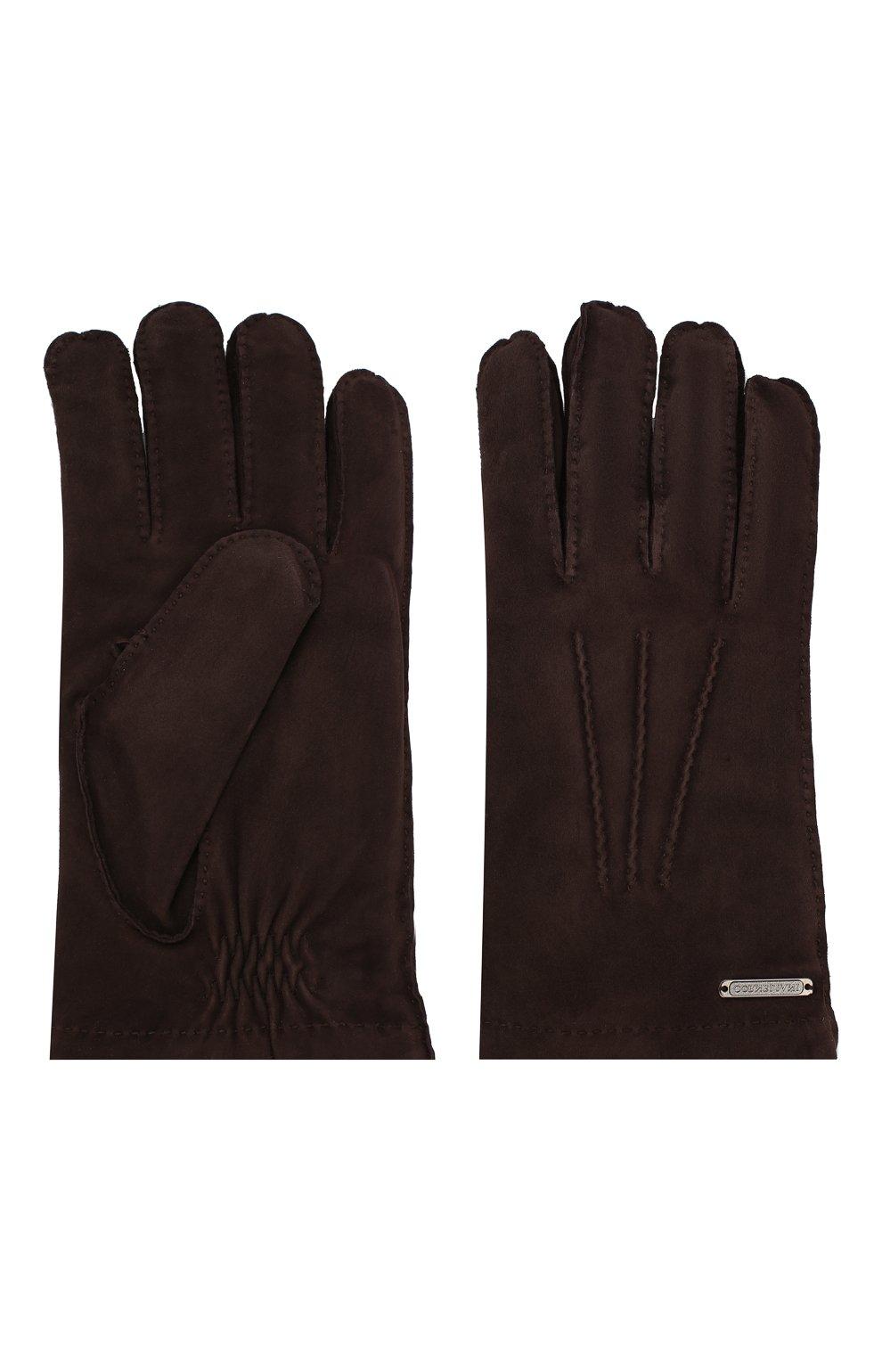 Мужские замшевые перчатки CORNELIANI темно-коричневого цвета, арт. 84Q301-9820595/00   Фото 2