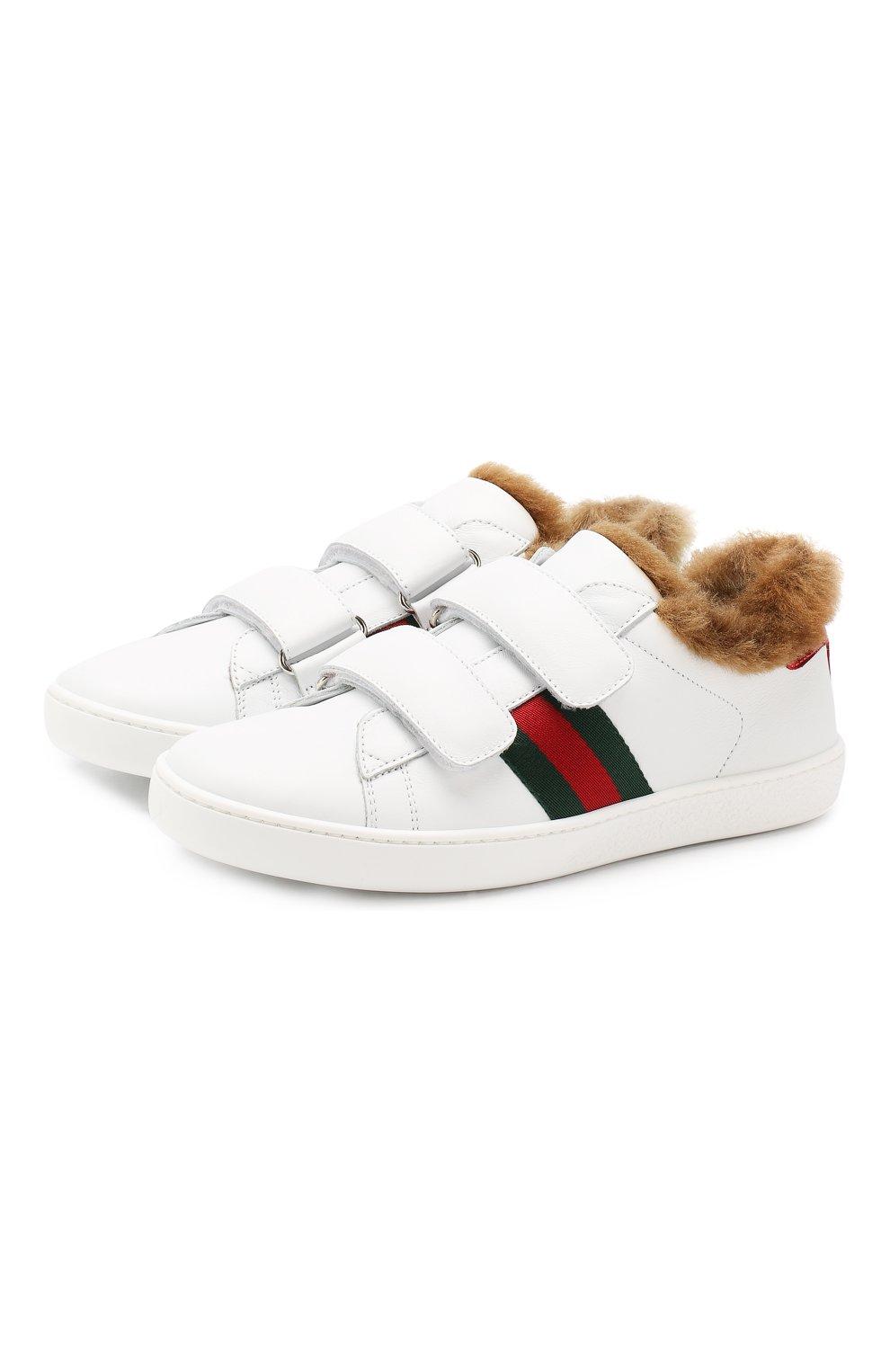 Детские кожаные кеды GUCCI белого цвета, арт. 526163/0IIL0 | Фото 1