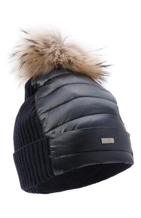 Утепленная шапка с меховым помпоном | Фото №1