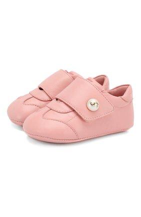 Детского кожаные пинетки DOLCE & GABBANA светло-розового цвета, арт. DK0109/A1293/17-19 | Фото 1