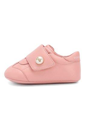 Детского кожаные пинетки DOLCE & GABBANA светло-розового цвета, арт. DK0109/A1293/17-19 | Фото 2