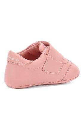 Детского кожаные пинетки DOLCE & GABBANA светло-розового цвета, арт. DK0109/A1293/17-19 | Фото 3