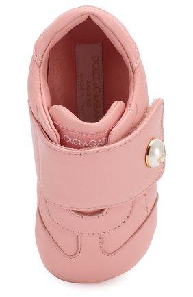Детского кожаные пинетки DOLCE & GABBANA светло-розового цвета, арт. DK0109/A1293/17-19 | Фото 4