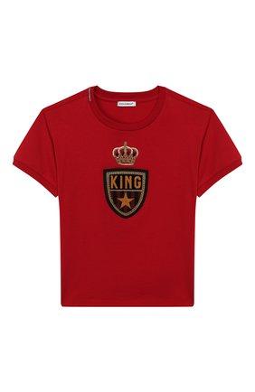 Детская хлопковая футболка DOLCE & GABBANA красного цвета, арт. L4JT7L/G7TNV/8-14 | Фото 1