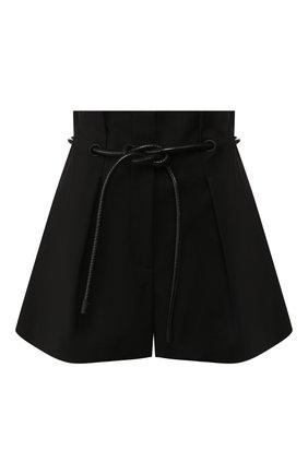 Мини-шорты с завышенной талией и контрастным поясом | Фото №1