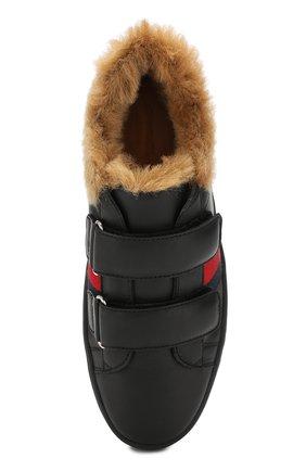 Детские кожаные кеды GUCCI черного цвета, арт. 526163/0IIL0 | Фото 4