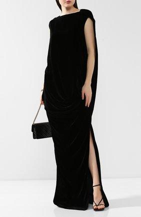 Женское платье из смеси вискозы и шелка RICK OWENS черного цвета, арт. RP19F5510/V   Фото 2