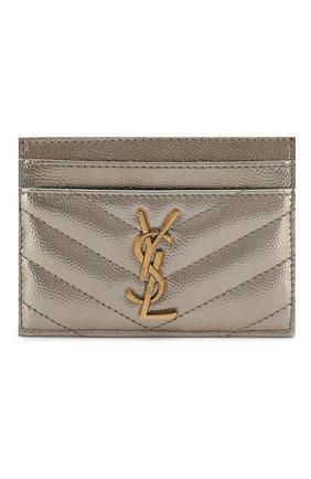 Женский футляр для кредитных карт SAINT LAURENT серебряного цвета, арт. 423291/03X07   Фото 1