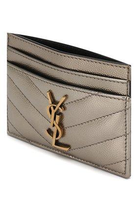 Женский футляр для кредитных карт SAINT LAURENT серебряного цвета, арт. 423291/03X07   Фото 3