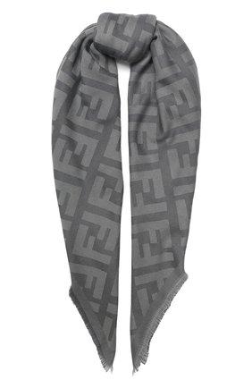 Мужские шарф из смеси шерсти и кашемира FENDI серого цвета, арт. FXT069 A669 | Фото 1