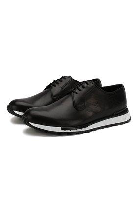 Мужские кожаные кроссовки BERLUTI черного цвета, арт. S4908-001 | Фото 1