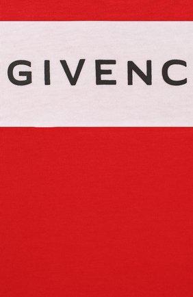 Детский хлопковый лонгслив GIVENCHY красного цвета, арт. H05090 | Фото 3