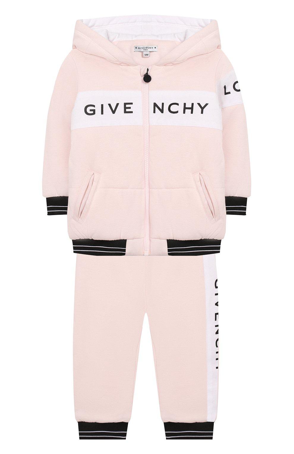 Детский комплект из кардигана и брюк GIVENCHY розового цвета, арт. H98057 | Фото 1