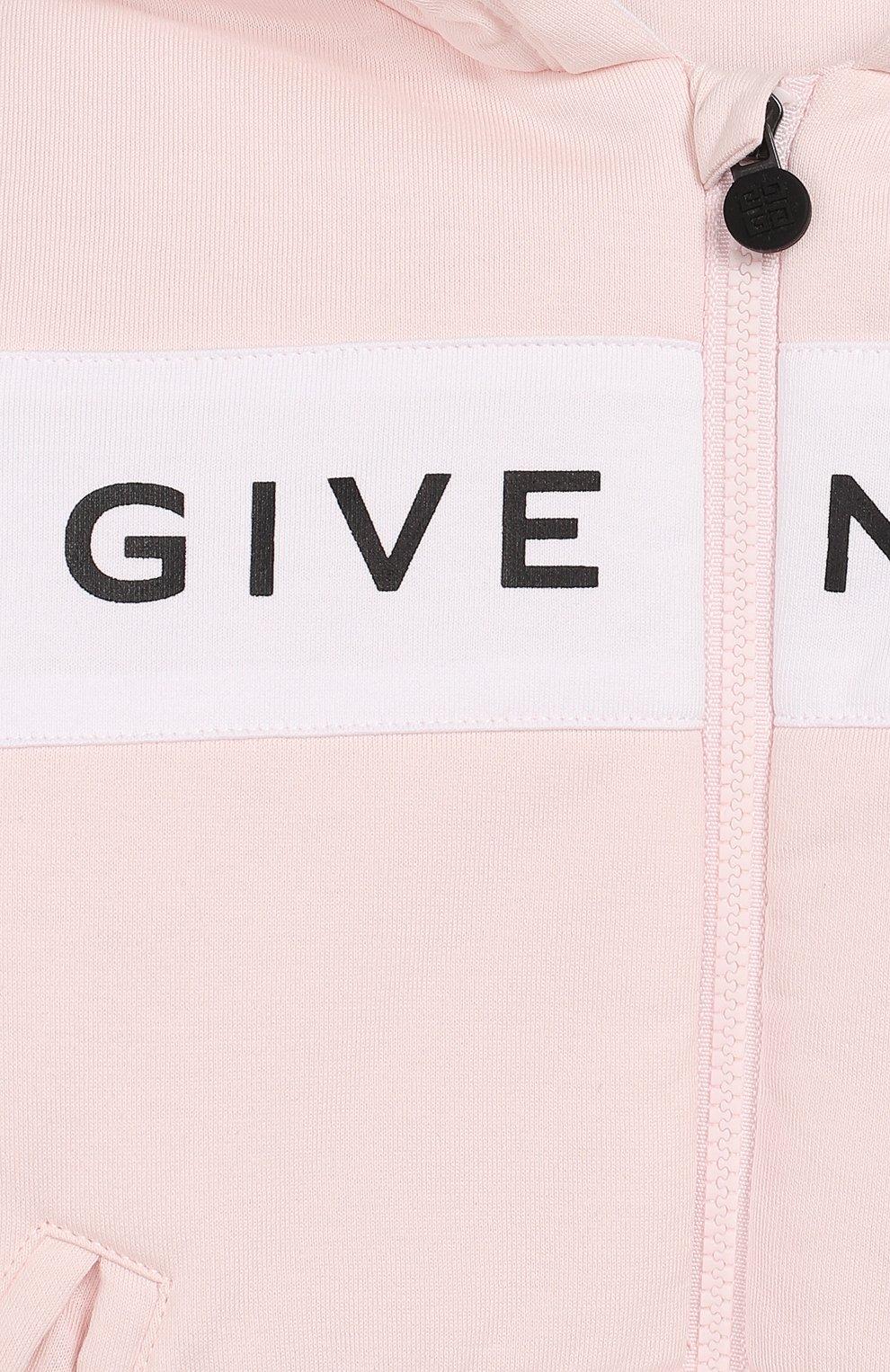 Детский комплект из кардигана и брюк GIVENCHY розового цвета, арт. H98057 | Фото 4