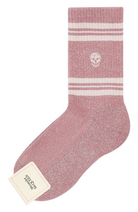 Женские хлопковые носки ALEXANDER MCQUEEN розового цвета, арт. 584618/3B75Q | Фото 1