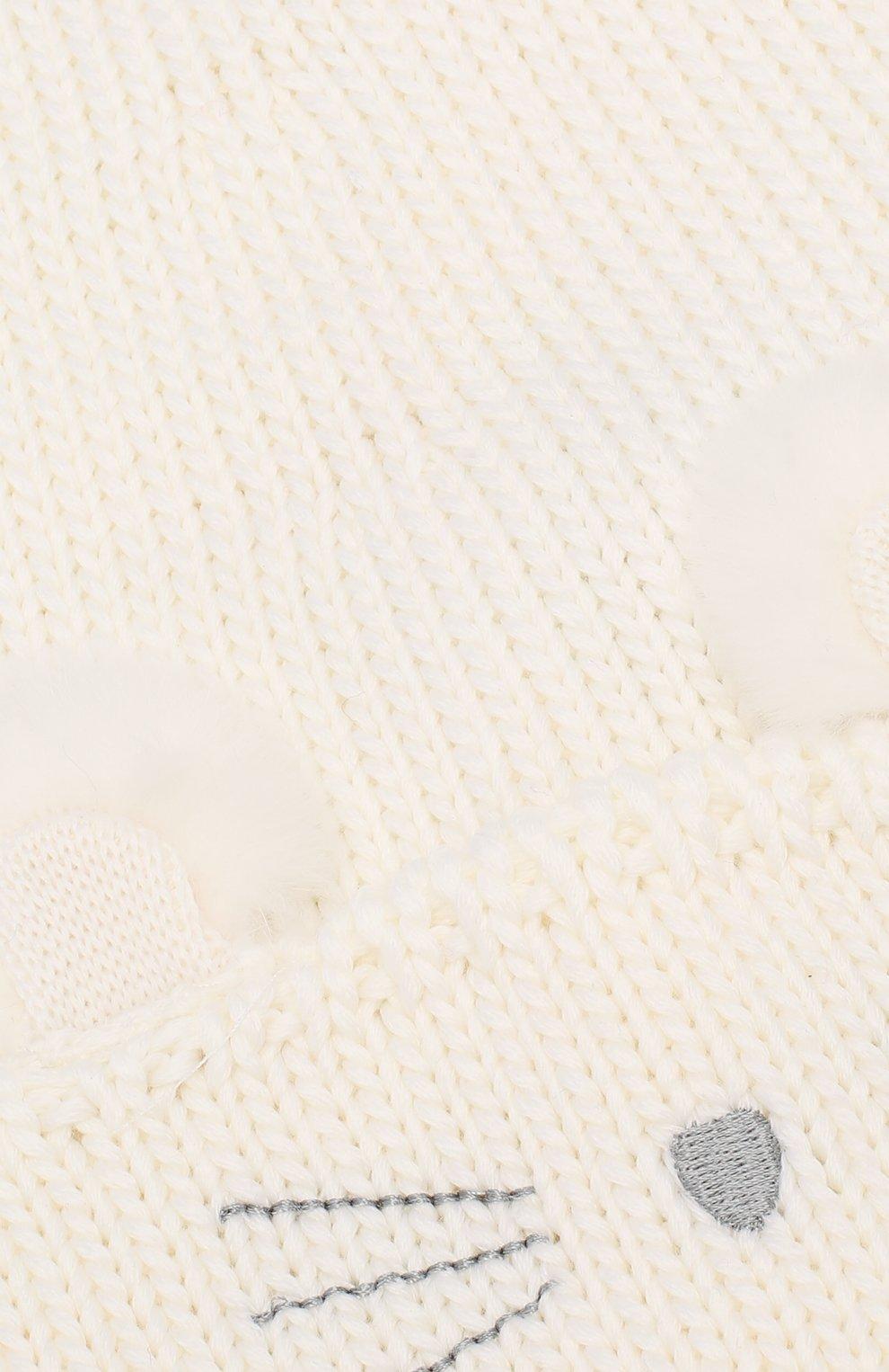 Детского шерстяная шапка с меховым помпоном IL TRENINO белого цвета, арт. 19 5977/FG | Фото 3