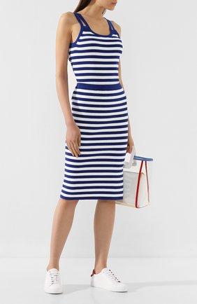 Женская хлопковая юбка MICHAEL MICHAEL KORS синего цвета, арт. MU97EY1BVG   Фото 2