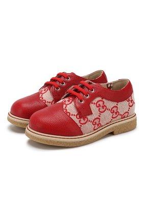 Детские текстильные дерби GUCCI красного цвета, арт. 579590/9SF70 | Фото 1
