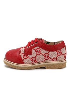 Детские текстильные дерби GUCCI красного цвета, арт. 579590/9SF70 | Фото 2
