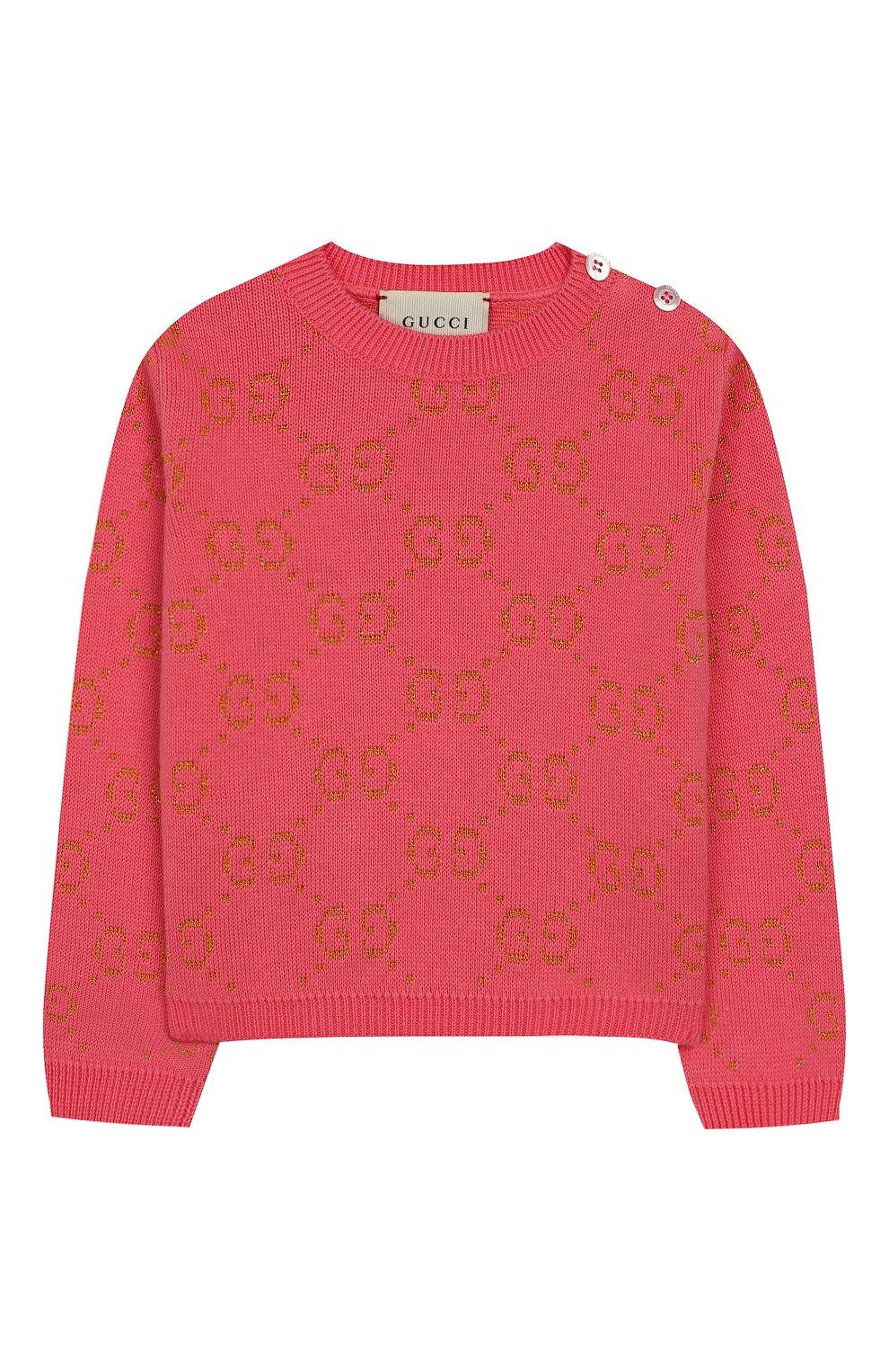 Детский хлопковый пуловер GUCCI розового цвета, арт. 580627/XKAHM   Фото 1