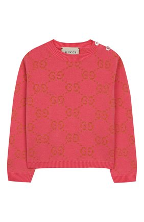 Детский хлопковый пуловер GUCCI розового цвета, арт. 580627/XKAHM | Фото 1