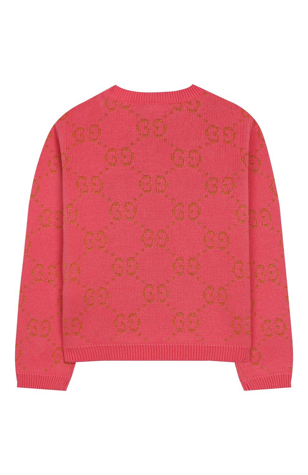Детский хлопковый пуловер GUCCI розового цвета, арт. 580627/XKAHM   Фото 2