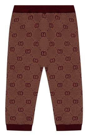 Детские брюки из шерсти и хлопка GUCCI бордового цвета, арт. 574620/XKAS0 | Фото 1