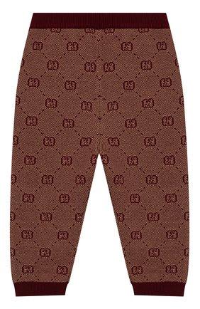 Детские брюки из шерсти и хлопка GUCCI бордового цвета, арт. 574620/XKAS0 | Фото 2