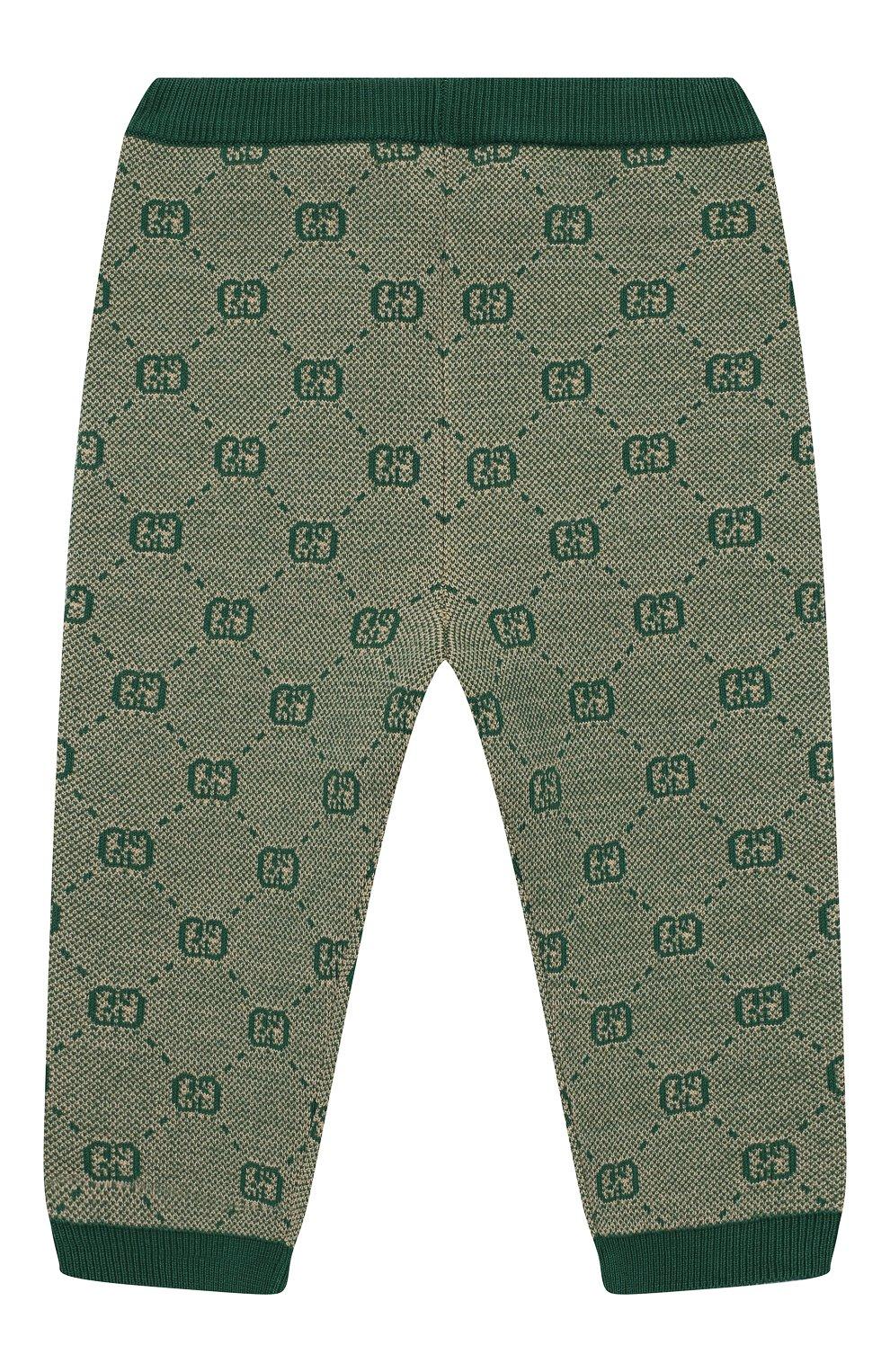 Детские брюки из шерсти и хлопка GUCCI зеленого цвета, арт. 574620/XKAS0 | Фото 2