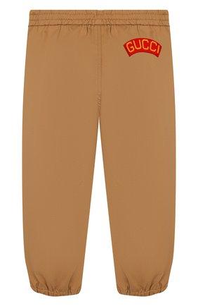 Детские хлопковые брюки GUCCI бежевого цвета, арт. 573996/XWAEW | Фото 2