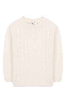 Детский шерстяной пуловер GUCCI белого цвета, арт. 569602/XKAP0 | Фото 1