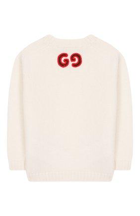 Детский шерстяной пуловер GUCCI белого цвета, арт. 569602/XKAP0 | Фото 2