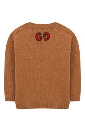 Детский шерстяной пуловер GUCCI бежевого цвета, арт. 569602/XKAP0 | Фото 2