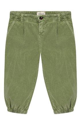 Детские хлопковые брюки GUCCI хаки цвета, арт. 566099/XDANV | Фото 1