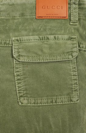 Детские хлопковые брюки GUCCI хаки цвета, арт. 566099/XDANV | Фото 3