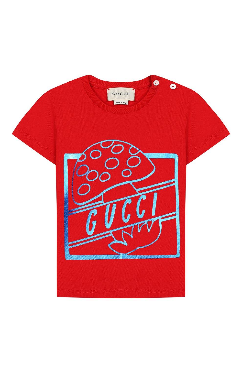 Детский хлопковая футболка GUCCI красного цвета, арт. 555675/XJBJH | Фото 1