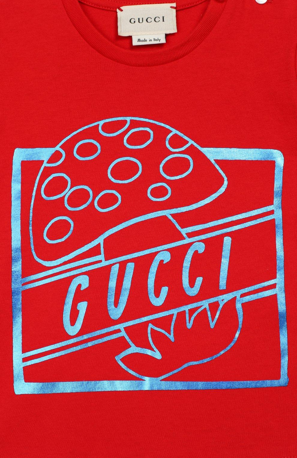 Детский хлопковая футболка GUCCI красного цвета, арт. 555675/XJBJH | Фото 3