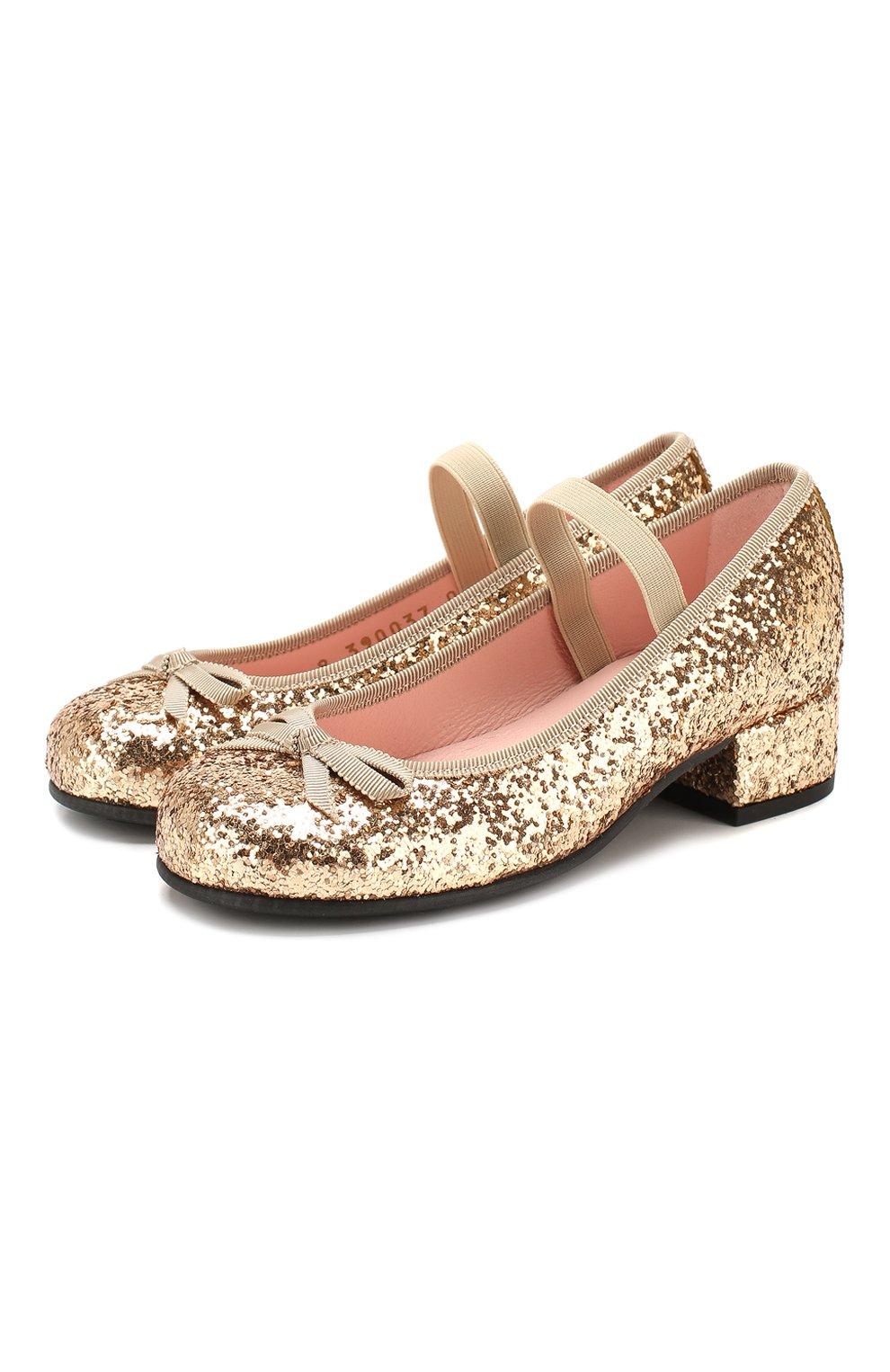 Детские туфли с перемычкой PRETTY BALLERINAS золотого цвета, арт. 44.097/KYLIE   Фото 1
