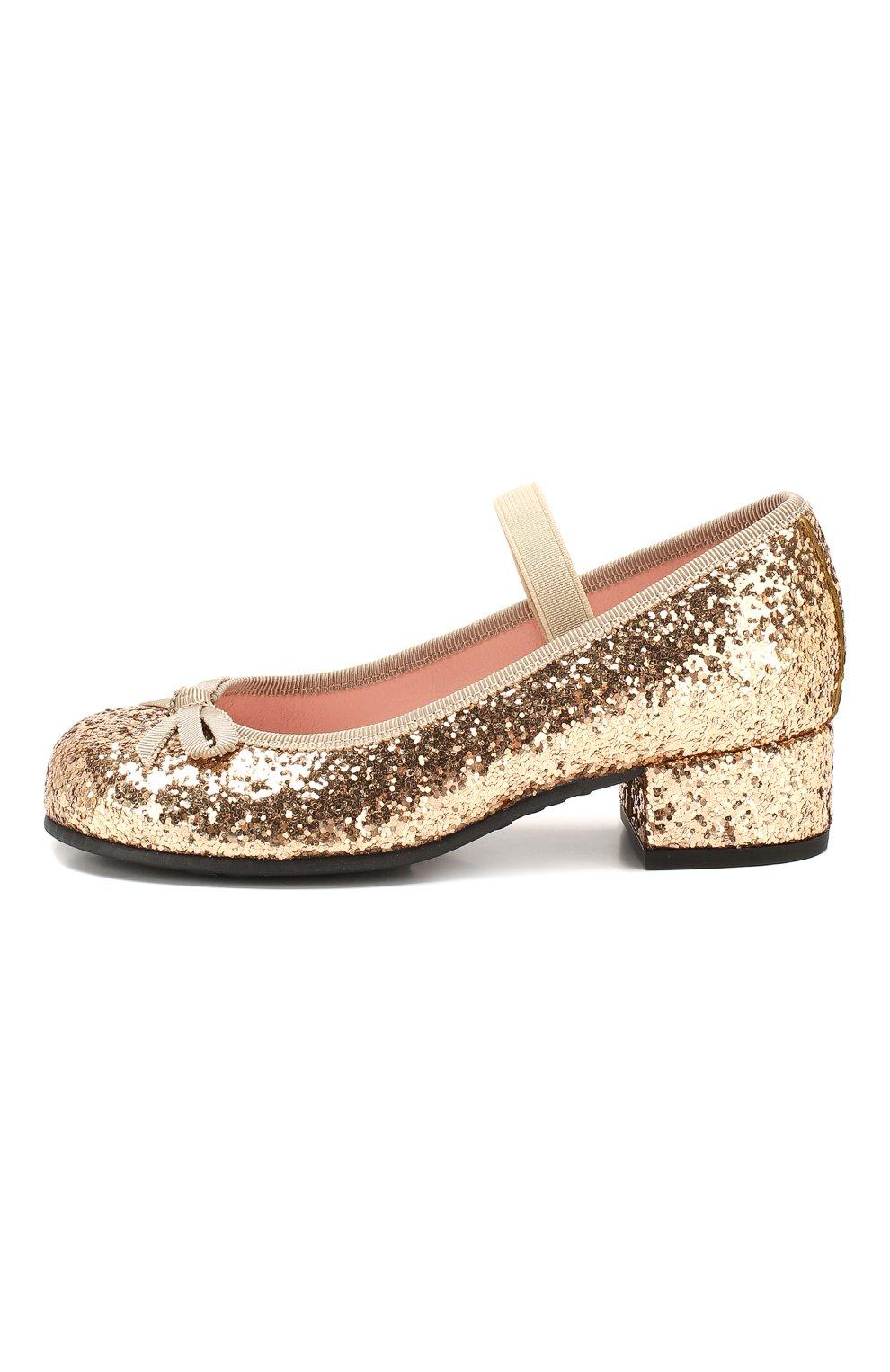 Детские туфли с перемычкой PRETTY BALLERINAS золотого цвета, арт. 44.097/KYLIE   Фото 2