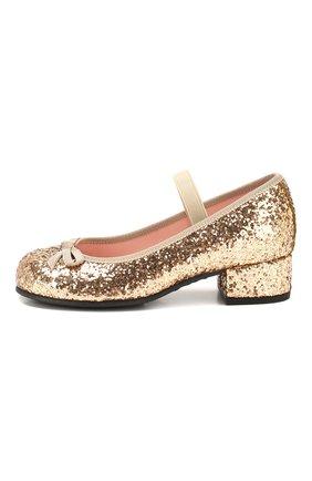 Детские туфли с перемычкой PRETTY BALLERINAS золотого цвета, арт. 44.097/KYLIE | Фото 2