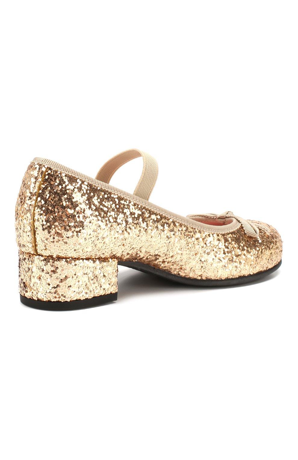 Детские туфли с перемычкой PRETTY BALLERINAS золотого цвета, арт. 44.097/KYLIE   Фото 3